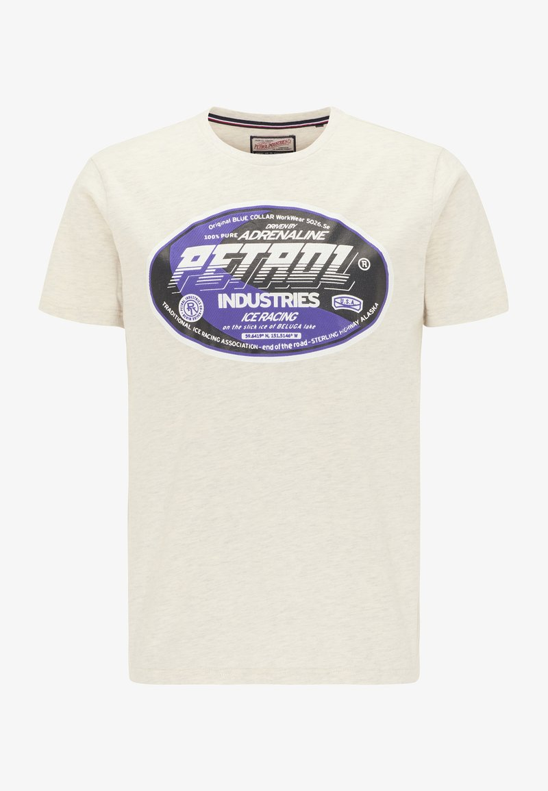 Petrol Industries T-SHIRT - T-Shirt print - antique white melee/weiß 0DNuO8