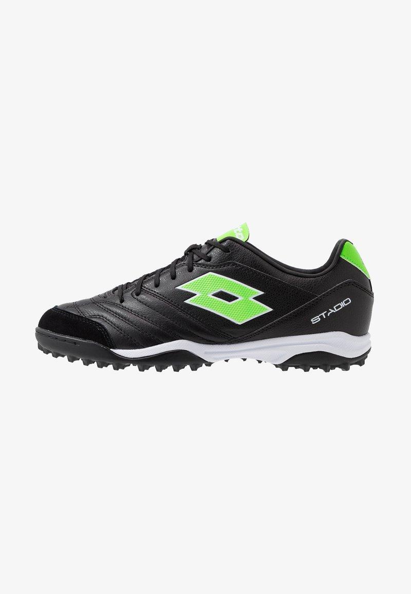 Lotto - STADIO 300 II TF - Voetbalschoenen voor kunstgras - all black/spring green