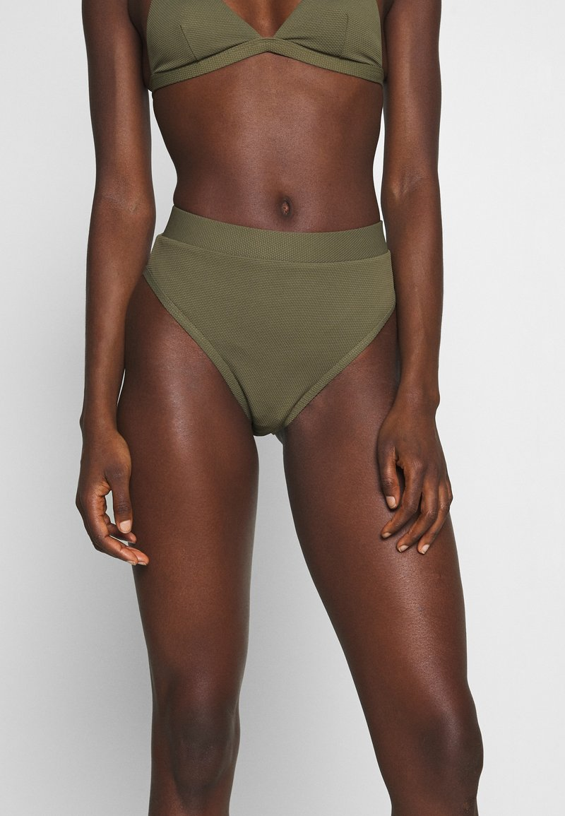 NA-KD - STRUCTURED HIGH WAISTED BOTTOM - Bikinibroekje - burnt olive