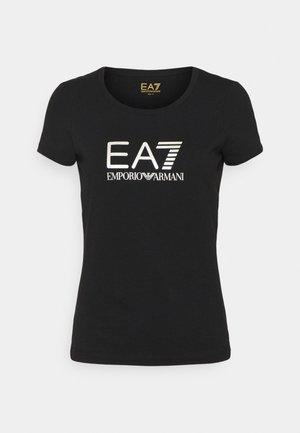 T-shirt z nadrukiem - black/light gold