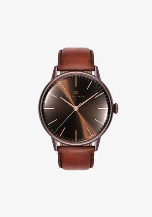 UHR SERENITY CUPPA BROWN DARK BROWN LEATHER 40MM - Horloge - sunray brown