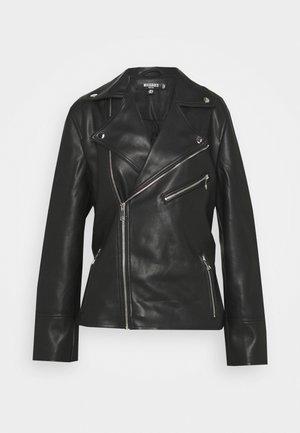 BELTED WAIST BIKER - Faux leather jacket - black
