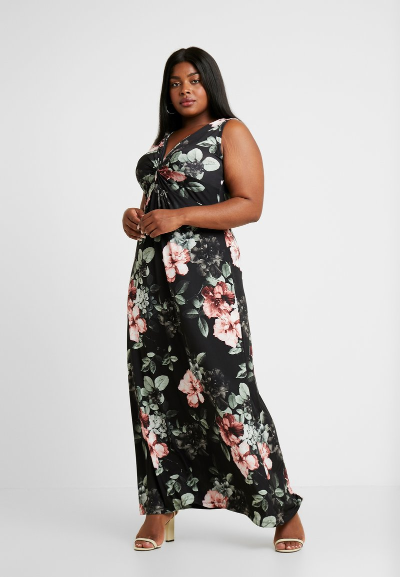 Anna Field Curvy - Robe longue - black/rose/dark green