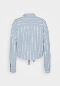 Tommy Jeans - TJW RELAXED FRONT KNOT  - Button-down blouse - moderate blue/stripe - 1