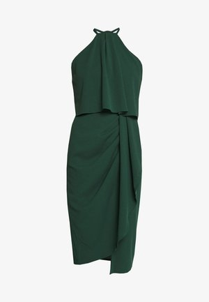HALTER KNECK FITTED MIDI DRESS - Jerseykjole - forest green