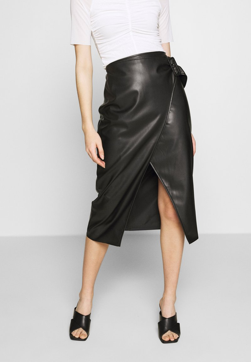Who What Wear - THE VEGAN SARONG SKIRT - A-Linien-Rock - black