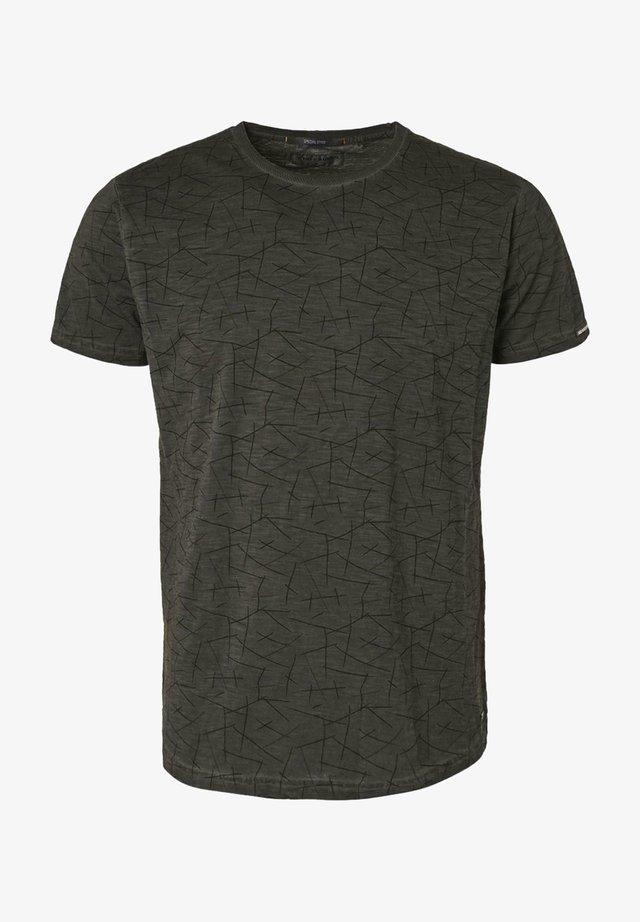 Print T-shirt - darl grey