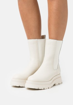 LEATHER - Platform ankle boots - white