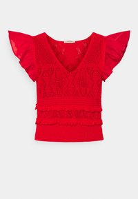 TWINSET - MAGLIA  SCOLLO V  - Camiseta estampada - corallo - 0