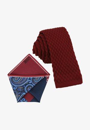 CRAVATTA MAGLIA & ARTEQUATTRO SET - Pocket square - bordeaux rot | stahl blau royalblau paisley & punkte