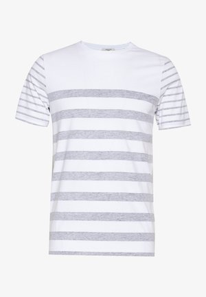 JPRBLA REVERSY TEE  CREW NECK - Triko spotiskem - white/navy blazer