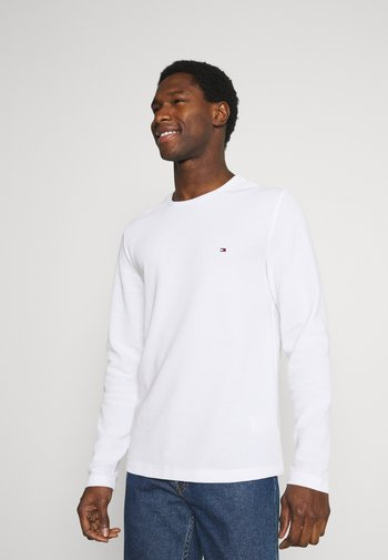 WAFFLE LONG SLEEVE TEE - Long sleeved top - white