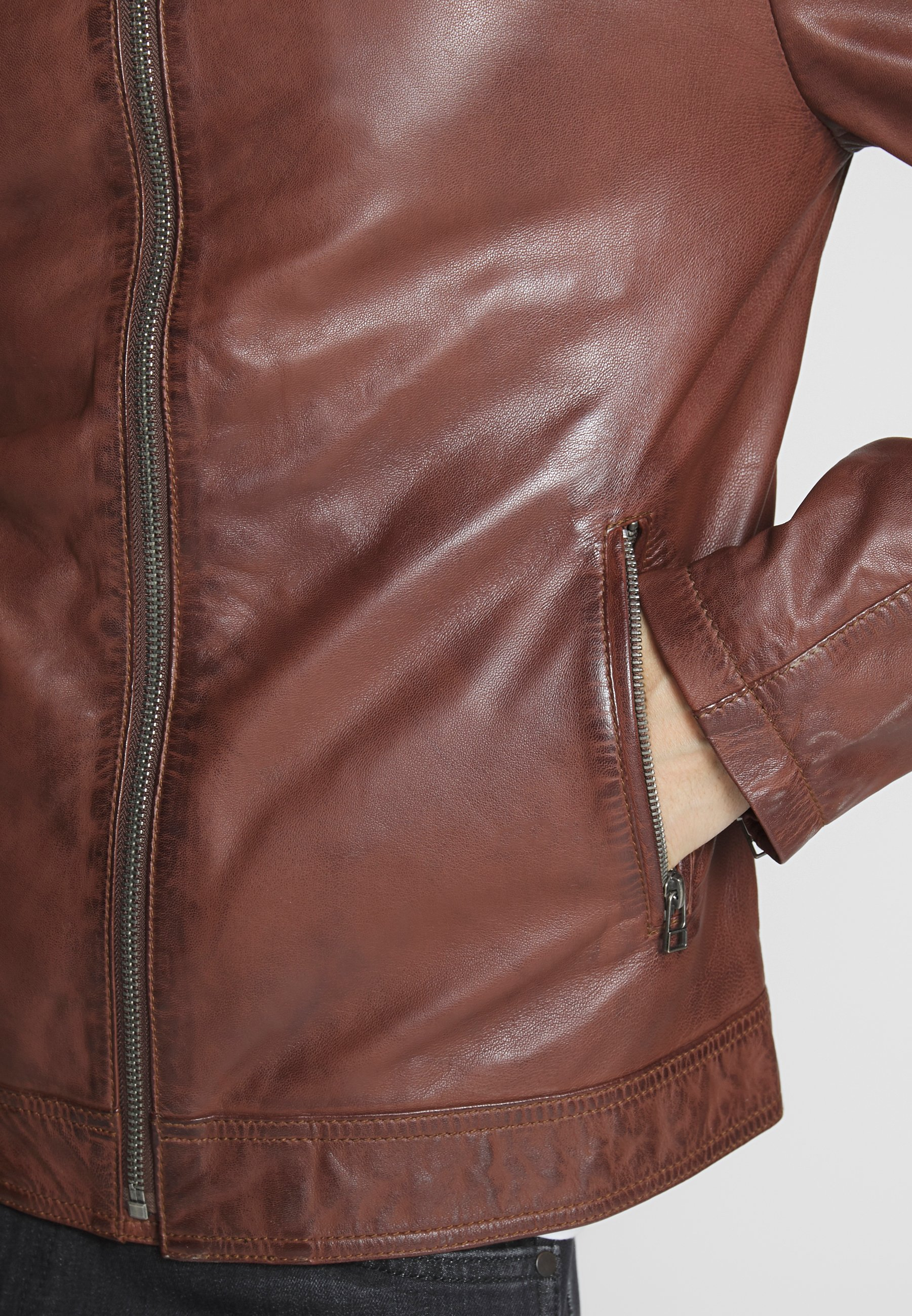 Goosecraft Veste en cuir - rodeo brown
