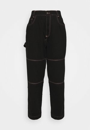 DRILL TROUSER WITH TOPSTITCH - Broek - black