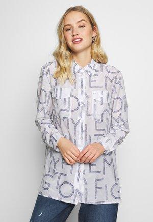 LEILA  - Button-down blouse - white/blue