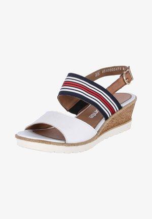 Sandalen met sleehak - weiss-kombi