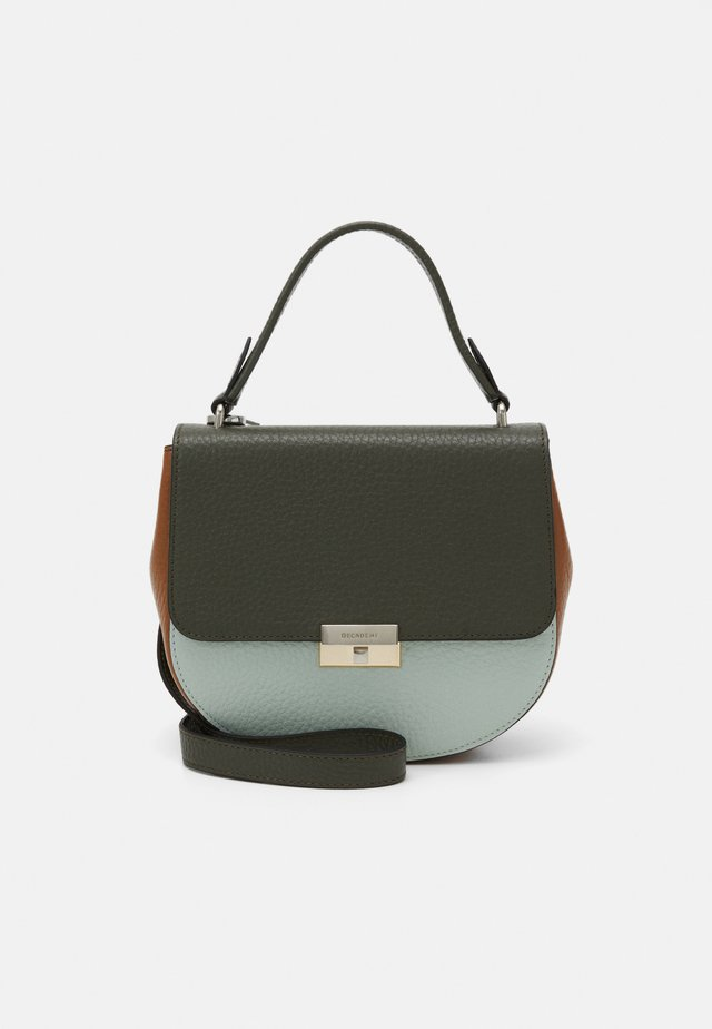 JUNE SMALL TOP HANDLE - Schoudertas - army/mint green/cognac