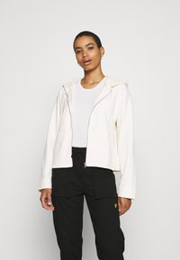 Marc O'Polo - HOODY ZIP FRONT KANGAROO POCKETS GATHERED BACK - Zip-up sweatshirt - white sand - 0