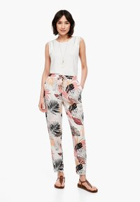 s.Oliver - Trousers - off-white aop - 1