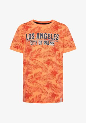 WE FASHION JONGENS T-SHIRT MET BLADERENDESSIN - T-shirt imprimé - bright orange