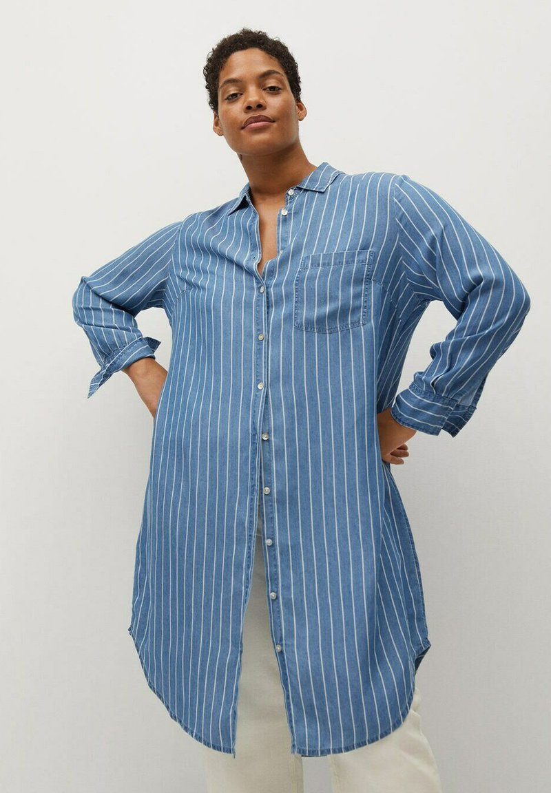 Violeta by Mango - STRIPES - Button-down blouse - mittelblau