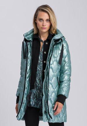 Winter coat - dark jade varied