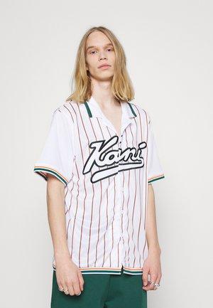 VARSITY BLOCK PINSTRIPE BASEBALL SHIRT - Košile - white