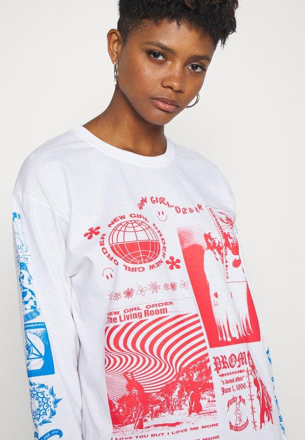 NEW girl ORDER RAVE FLYER LONG SLEEVE TOP - Bluzka z długim rękawem - white Nadruk Odzież Damska BKFS GP 5