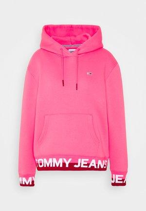 BRANDED HEM HOOD - Bluza z kapturem - glamour pink