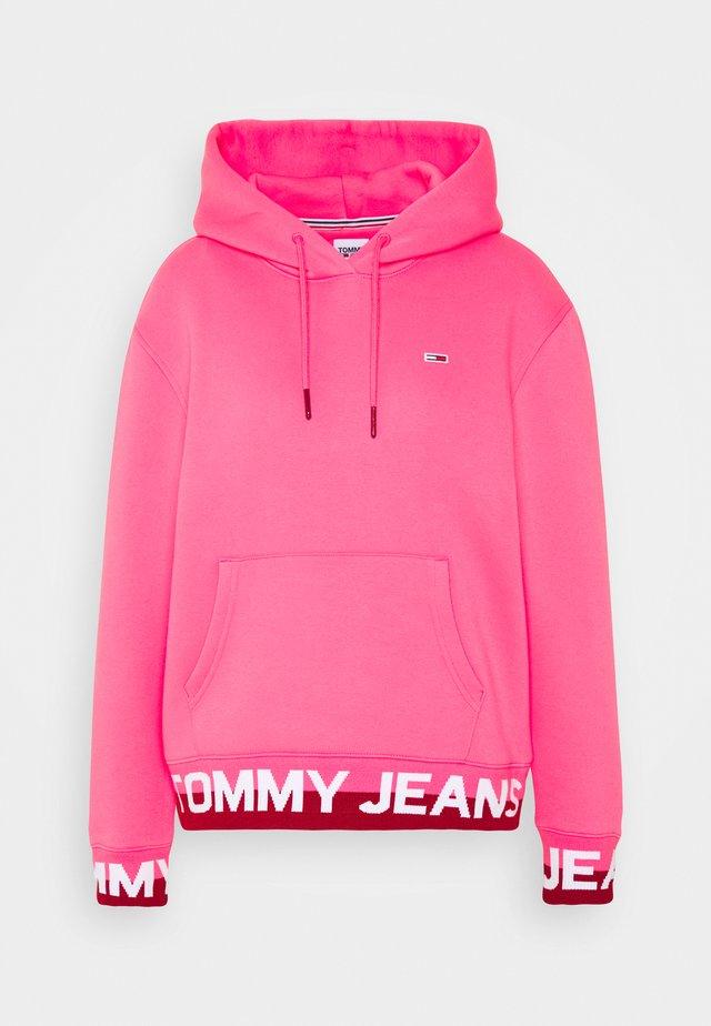 BRANDED HEM HOOD - Sweat à capuche - glamour pink