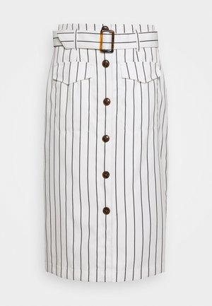 PINSTRIPE BELTED SKIRT - Pencil skirt - white
