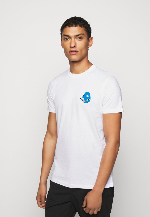 MENS SLIM FIT FACE - T-shirts med print - white