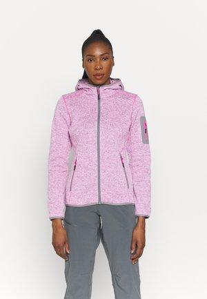WOMAN FIX HOOD JACKET - Fleece jacket - purple fluo/bianco