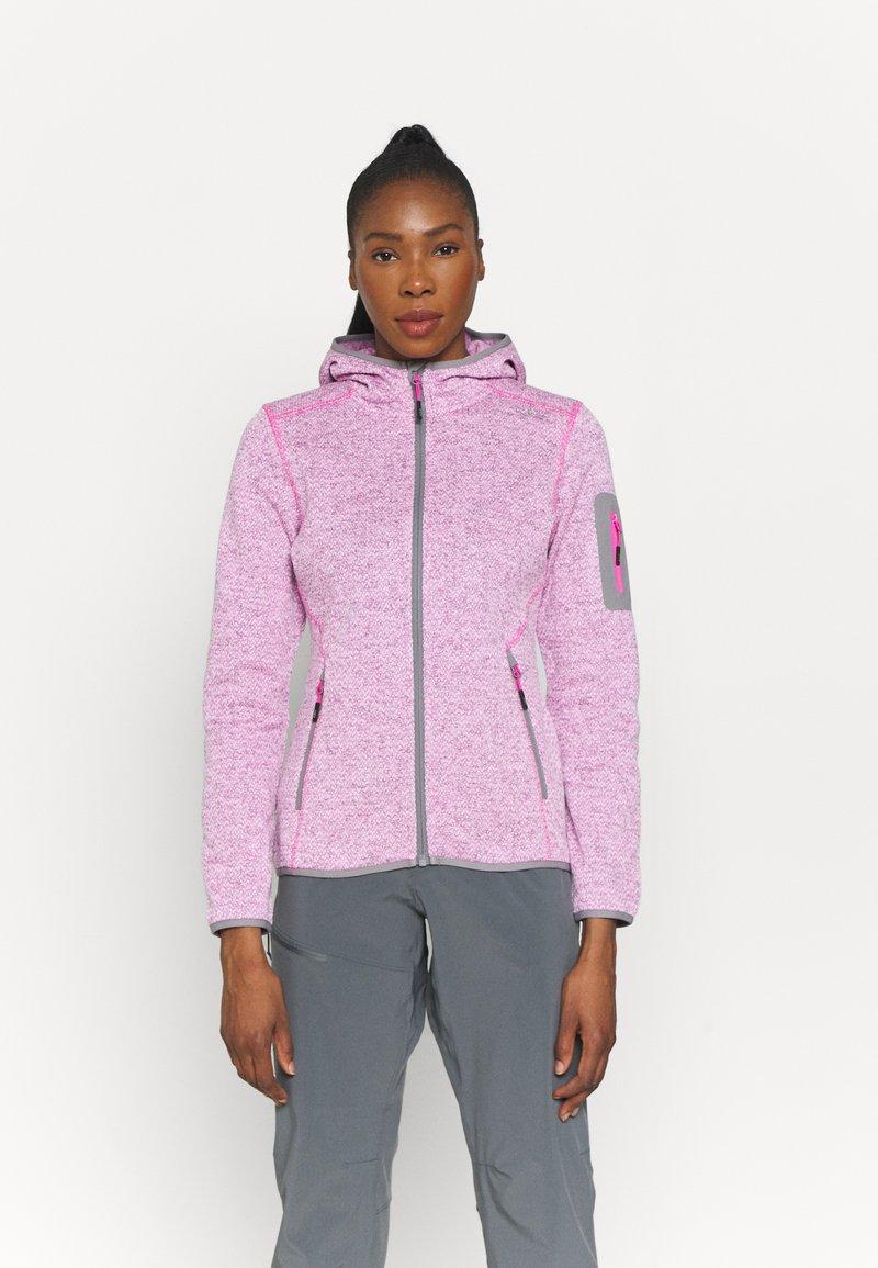 CMP - WOMAN FIX HOOD JACKET - Fleece jacket - purple fluo/bianco
