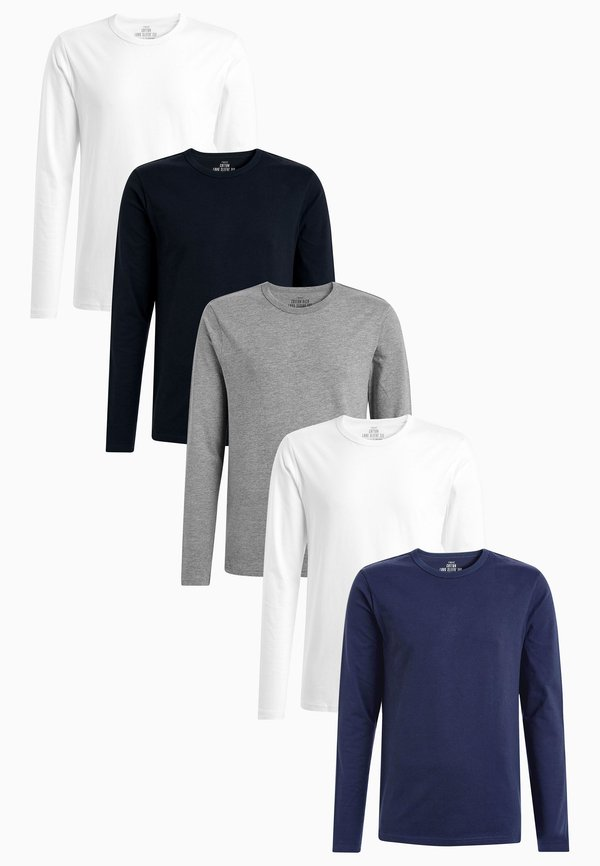Next MIXED LONG SLEEVE T-SHIRTS FIVE PACK - Bluzka z długim rękawem - white/biały Odzież Męska HVEW