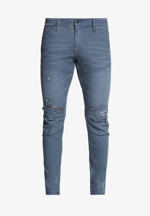5620 3D SKINNY ZIP - Jeans slim fit - wess grey superstretch - antic ripped chert grey