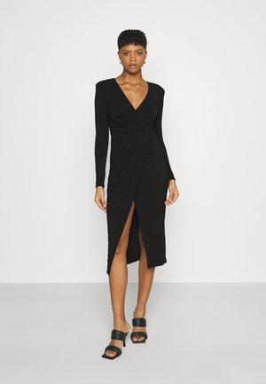 STRONG SHOULDER WRAP DRESS - Jersey dress - black