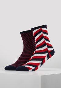 Tommy Hilfiger - WOMEN SOCK HERRINGBONE 2 PACK - Socks - navy/red - 0