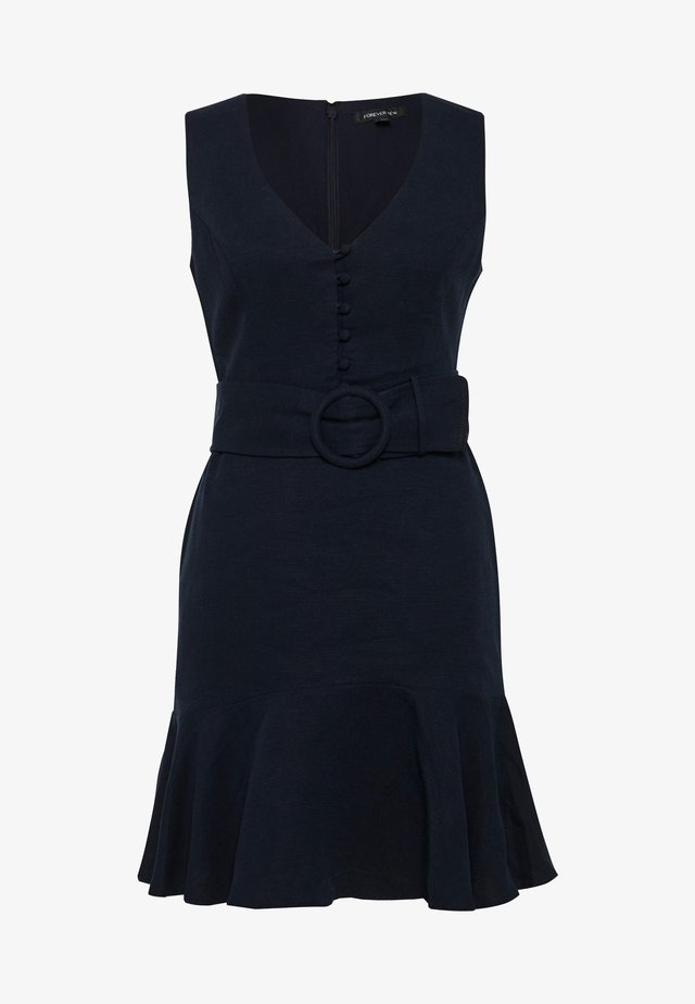 BELTED FLIPPY HEM DRESS - Robe d'été - navy