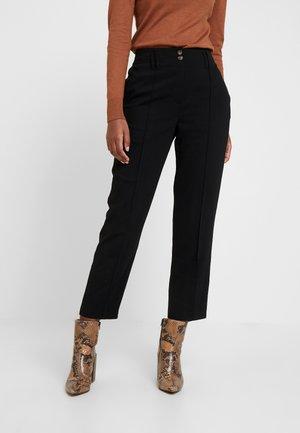 BELTED CHECK - Kalhoty - black