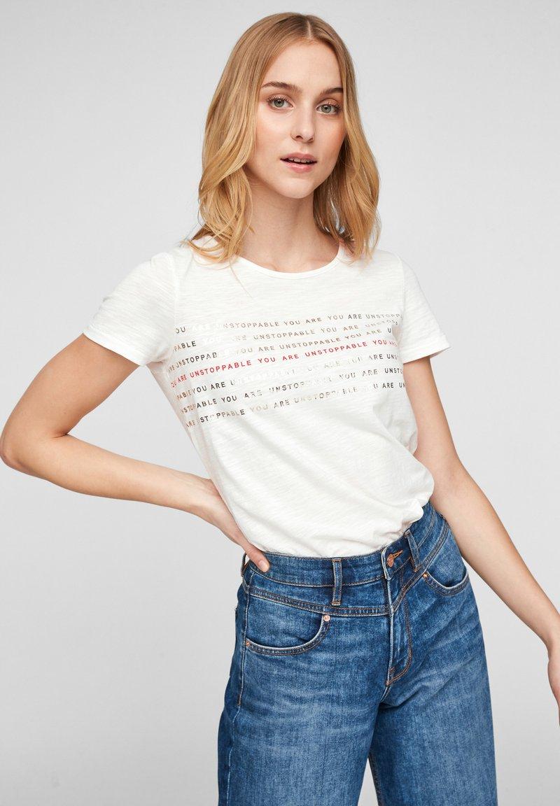 s.Oliver - Print T-shirt - off white statement print