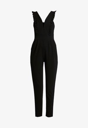 FRILL SLEEVE PLUNGE - Jumpsuit - black