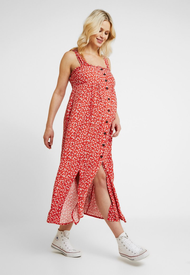 Topshop Maternity - SPLIT FRONT - Day dress - red