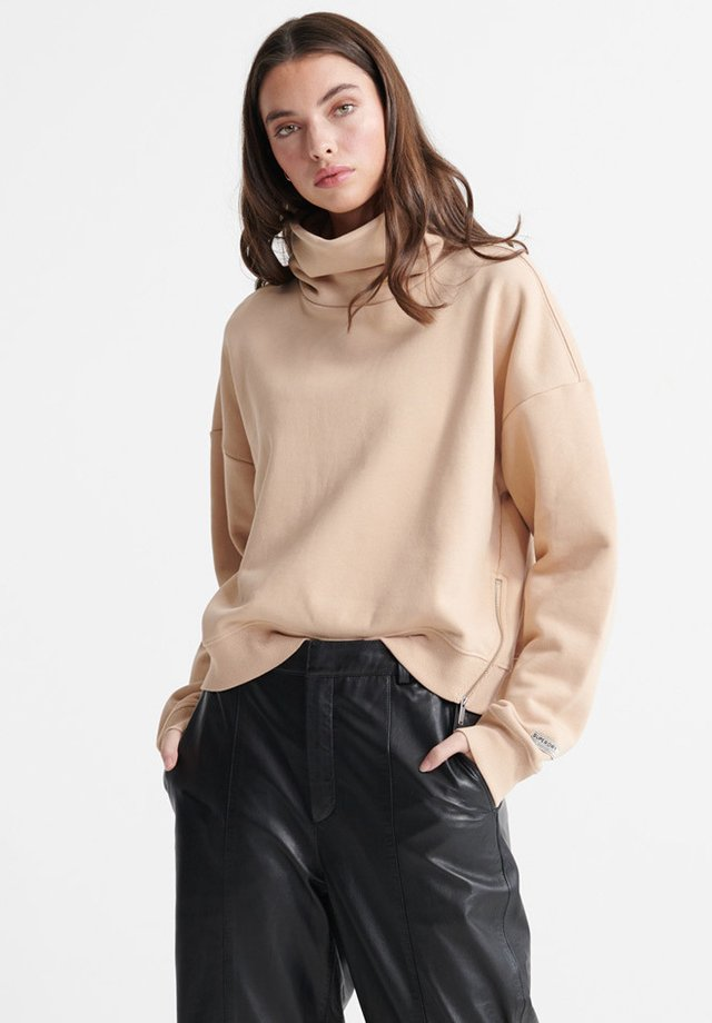 DESERT ZIP FUNNEL NECK - Sweatshirt - semolina