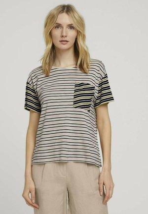 Camiseta estampada - beige black offwhite stripe