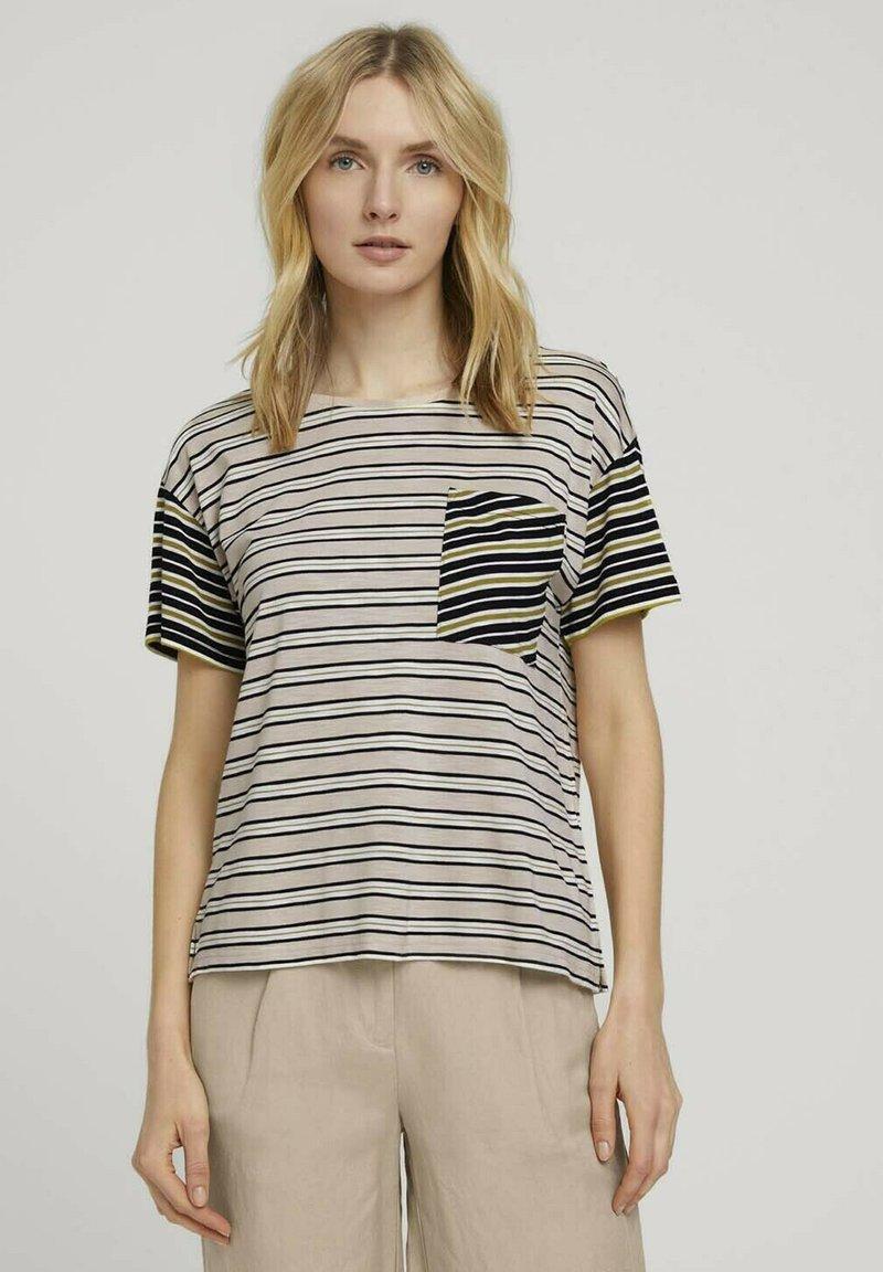 TOM TAILOR - Print T-shirt - beige black offwhite stripe