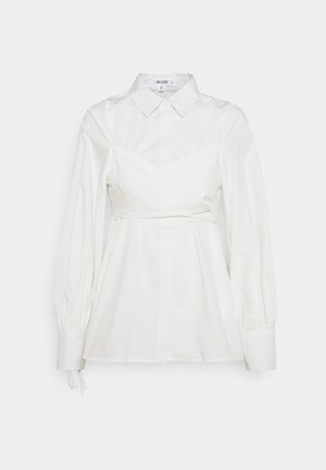 TIE WRAP DETAIL SHIRT - Bluser - white