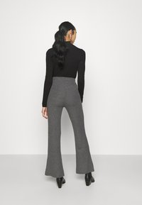 Even&Odd - RIBBED FLARE TROUSERS - Trousers - mottled dark grey - 2