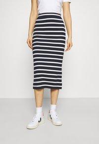 GANT - BRETON STRIPE SKIRT - Pencil skirt - evening blue - 0