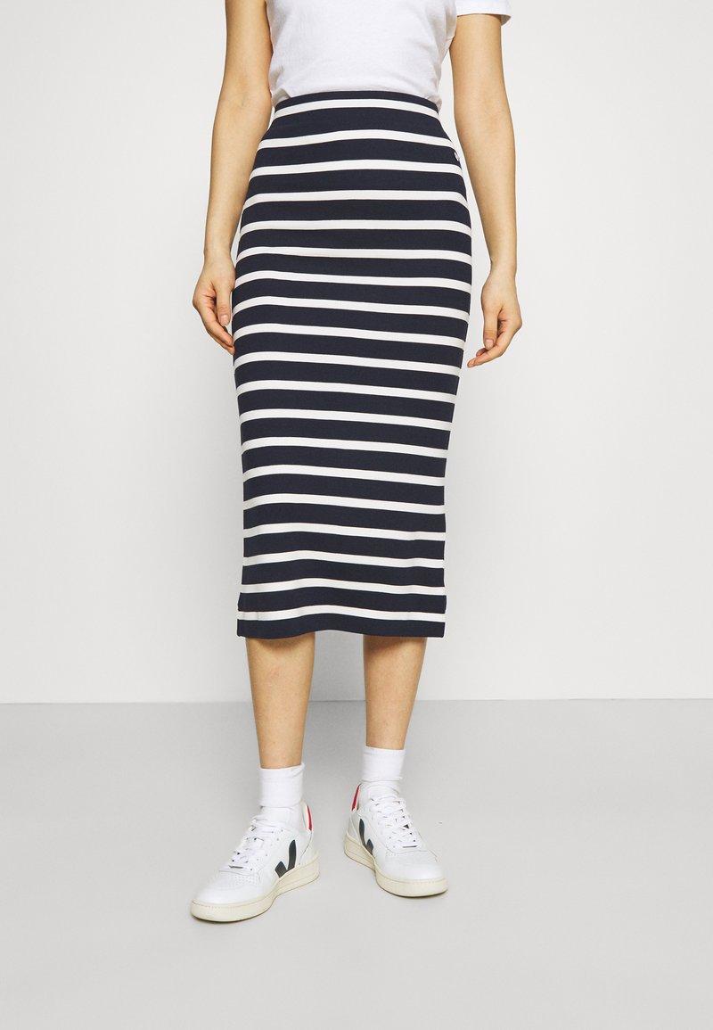 GANT - BRETON STRIPE SKIRT - Pencil skirt - evening blue